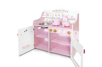 Very Berry Wooden Kids Kitchen with 9 Toy Kitchen Accessories