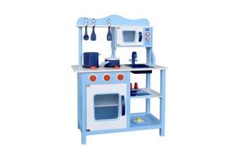 Kids Wooden Pretend Kitchen Play Set in Blue