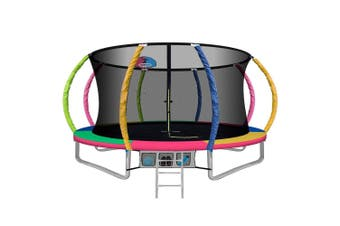 Everfit 12FT Round Spring Trampoline with Basketball Hoop Multi-Coloured Pad