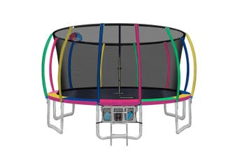 Everfit 16FT Round Spring Trampoline with Basketball Hoop and Multicolour Pad