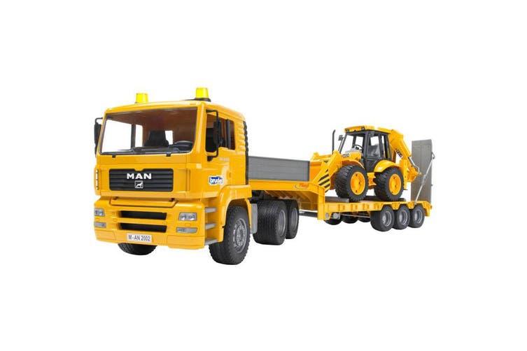 Bruder 1:16 MAN TGA Low Loader Truck with JCB Backhoe