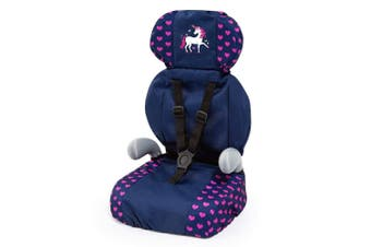 Bayer Doll Car Booster Seat Dark Blue Pink Hearts and Unicorn