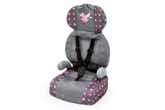 Bayer Doll Car Booster Seat Dark Pink and Grey with Fairy