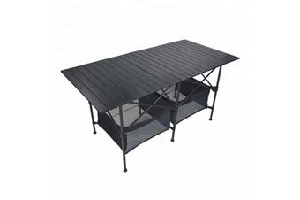 TRA 140cm Black Portable Folding Compact Camping Picnic Table