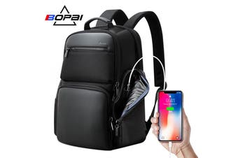 "Bopai Luxury Style Leather & Microfibre Anti-Theft Business and Travel with USB Charging Leather Backpack Men B1911 Black 15.6"" Laptop"