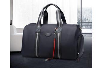 Bopai Luxury Business Style Leather & Microfibre Duffel Bag Waterproof Luggage Bag Crossbody Travel Bag B7711 Black