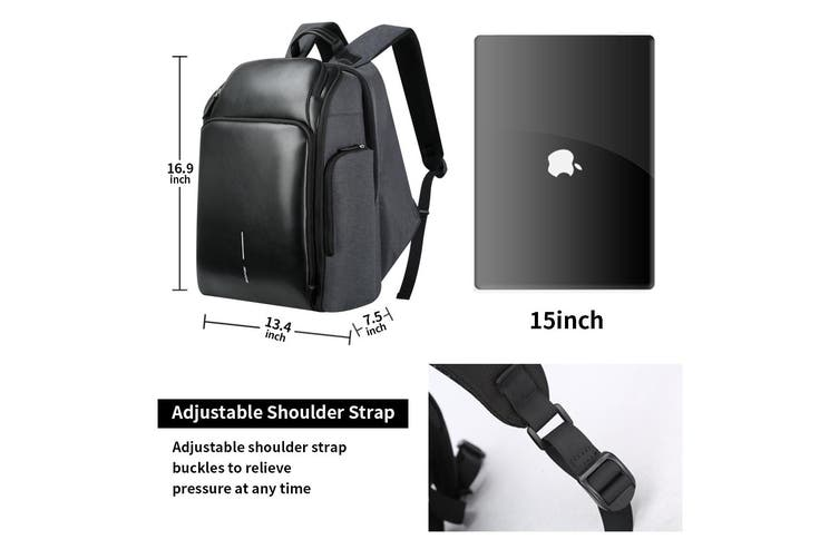 """Bopai Luxury Style Leather & Microfibre Anti-Theft Business and Travel with USB Charging Backpack B0128 Black 15.6"""" Laptop"""
