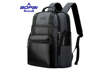 "Bopai Luxury Style Leather & Microfibre Anti-Theft Business and Travel with USB Charging Leather Backpack Men B4318 Black 15.6"" Laptop"