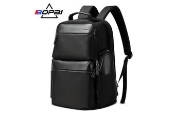 "Bopai Luxury Style Leather & Microfibre Anti-Theft Business and Travel with USB Charging Leather Backpack Men B0211 Black 15.6"" Laptop"