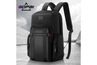 "Bopai Luxury Style Leather & Microfibre Anti-Theft Business and Travel with USB Charging Leather Backpack Men B5511 Black 15.6"" Laptop"
