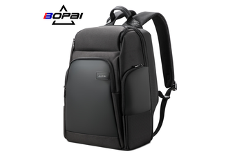 "BOPAI Luxury Style waterproof Leather & Microfibre Anti-Theft Business Backpack and Travel Backpack with USB Charging 15.6"" Smart Laptop Backpack B0311"