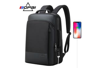 "BOPAI Luxury Style waterproof Leather & Microfibre Anti-Theft Business Backpack and Travel Backpack with USB Charging 15.6"" Smart Laptop Backpack B07311"