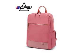 "BOPAI Luxury Style waterproof Leather & Microfibre Women's Business Backpack and Easy Daypack 14"" Laptop Backpack B1316 Pink"