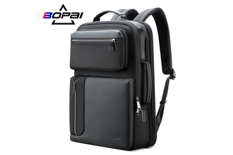 "BOPAI Luxury Style waterproof Leather & Microfibre Anti-Theft Business Backpack and Travel Backpack with USB Charging 15.6"" Smart Laptop Backpack B4311"