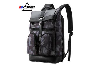 "BOPAI Luxury Style waterproof Leather & Microfibre Anti-Theft Business Backpack and Travel Backpack 15.6"" Smart Laptop Backpack B4513"