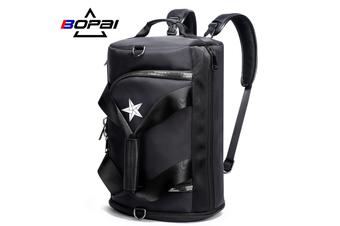 BOPAI Luxury Business Style Leather & Microfibre Duffel Bag Waterproof Luggage Bag Crossbody Travel Bag B5791 Black