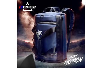 BOPAI Luxury Business Style Leather & Microfibre Duffel Bag Waterproof Luggage Bag Crossbody Travel Bag B5792 Blue