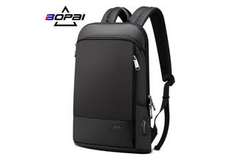 "BOPAI Luxury Style waterproof Leather & Microfibre Anti-Theft Business Backpack and Travel Backpack with USB Charging 15.6"" Smart Laptop Backpack B7611"