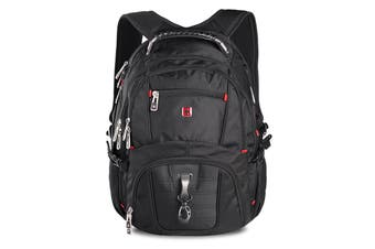 "Swisswin Swiss waterproof 15.6"" laptop Backpack School backpack Travel Backpack SW8112 Black"