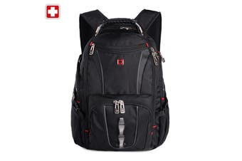 "Swisswin Swiss waterproof 17"" laptop Backpack School backpack Travel Backpack SW8114 Black"