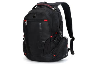 "SWISSWIN Swiss waterproof 17"" laptop  Backpack School backpack  Travel Shoulder Bag SW8118 Black"