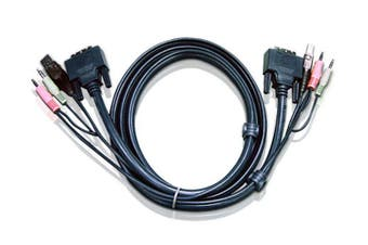 Aten 10ft USB DVI-D Dual Link KVM cable 3 m Black