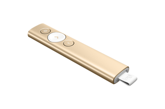 LOGITECH SPOTLIGHT PRESENTATION REMOTE- GOLD, BLUETOOTH OR USB CONNECT, 30M