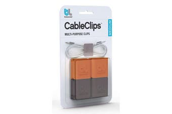 Bluelounge CableClip cable clamp Grey,Orange 4 pc(s)