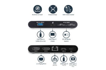 StarTech.com USB C Dock - 4K Dual Monitor DisplayPort - Mini Laptop Docking