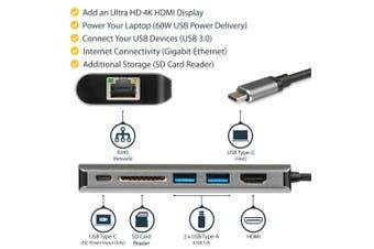 StarTech.com USB C Multiport Adapter - USB-C Travel Dock to 4K HDMI, 3x USB 3.0