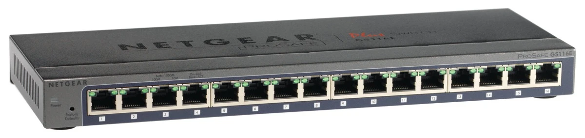 New Netgear GS116E ProSafe Plus 16 Port Gigabit Ethernet Switch New Netgear GS116E ProSafe Plus 16 Port Gigabit Ethernet Switch
