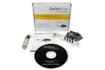 StarTech.com 4 Port PCI Express PCIe SuperSpeed USB 3.0 Controller Card Adapter