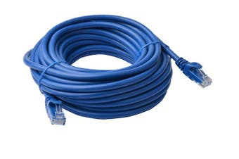 8WARE Cat6a UTP Ethernet Cable 20m Snagless Blue