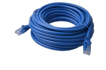 8WARE Cat6a UTP Ethernet Cable 50m SnaglessBlue