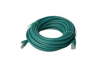 8WARE Cat6a UTP Ethernet Cable 50m Snagless Green