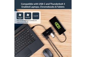 StarTech.com USB-C to Ethernet Adapter with 3-Port USB 3.0 Hub and Power
