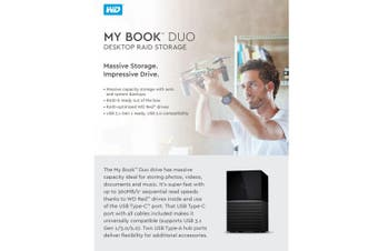 WESTERN DIGITAL My Book Duo 16TB Desktop RAID External Hard Drive USB 3.1 Gen2 -