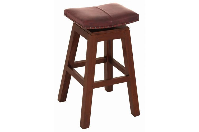 CT Swivel Top Leather Barstool - Mahogany