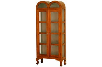 CT Double Dome Large Display Cabinet - Light-pecan