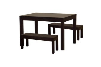 CT Dining Table and 2 Benches - Chocolate