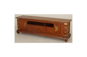CT 2 Door 4 DVD Drawer Chinese Low Entertainment Unit - Light-pecan