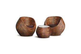 CT 2 Round Rattan Tub Chair & Coffee Table Set - Mahogany
