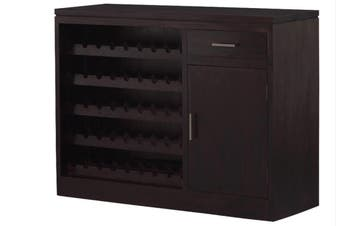 CT 1 Door 1 Drawer Wine Rack - 45 Wine Bottles - Chocolate
