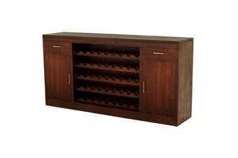 CT 2 Door 2 Drawer Wine Rack - Mahogany