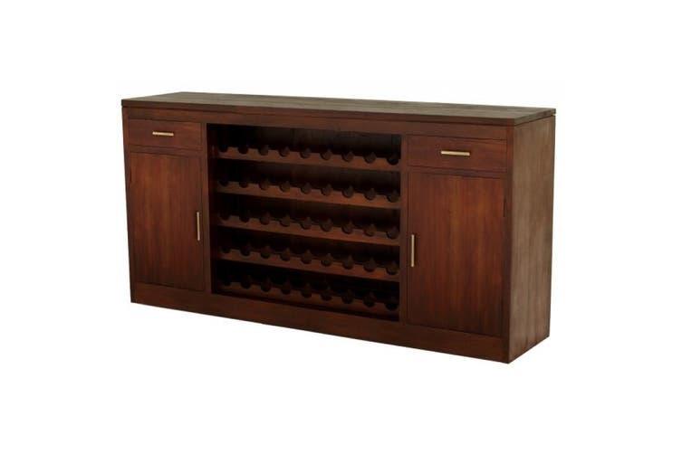 CT 2 Door 2 Drawer Wine Rack - Mahogany