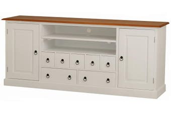 CT Tasmania 2 Door 7 Drawer Entertainment Unit - Two-toned