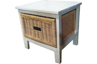 VI Manley Solid Mango Wood Frame 1 Drawer Cabinet White Painted Finish