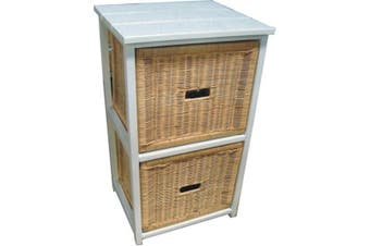 VI Manley Solid Mango Wood Frame 2 Drawers Cabinet White Painted Finish