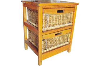 VI Brazil Solid Mango Wood Frame 2 Drawers Cabinet American Heritage Finish