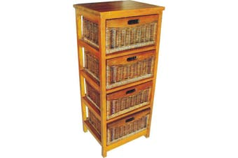 VI Brazil Solid Mango Wood Frame 4 Drawers Tall Cabinet American Heritage Finish